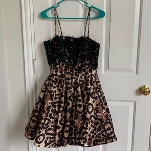 Dave & Johnny Dresses - Leopard Homecoming Dress or Party Dress